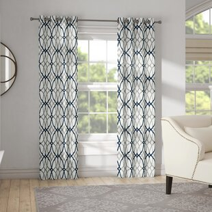 Mahaney Geometric Blackout Thermal Grommet Curtain Panels (Set of 2) by Winston Porter