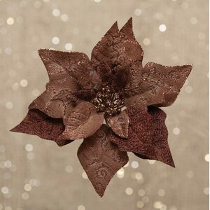 Poinsettia with Sparkle Swirls on Clip
