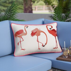 Tuzluca Flamingos Embroidered Outdoor Pillow