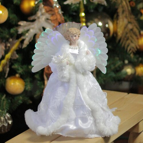 Lighted Angel with Gown Christmas Tree Topper