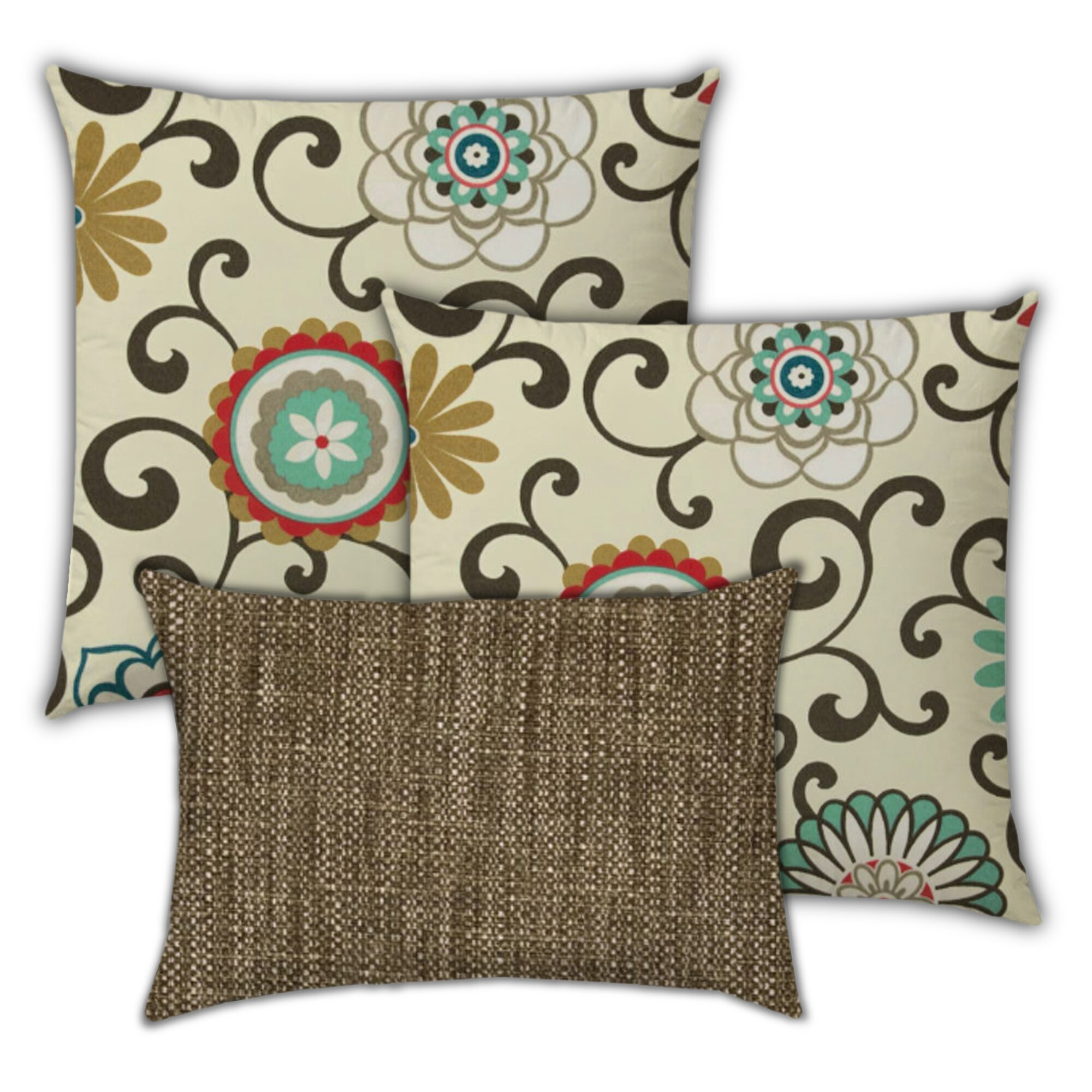 Joita Peaches And Cream Indoor Outdoor Removable Cover Pillow Set Of 3 Pillow Floral Pillow Wayfair