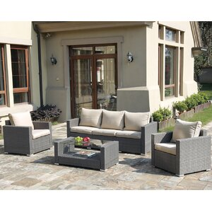 Patio Wicker 4 Piece Seating Group with Cushions