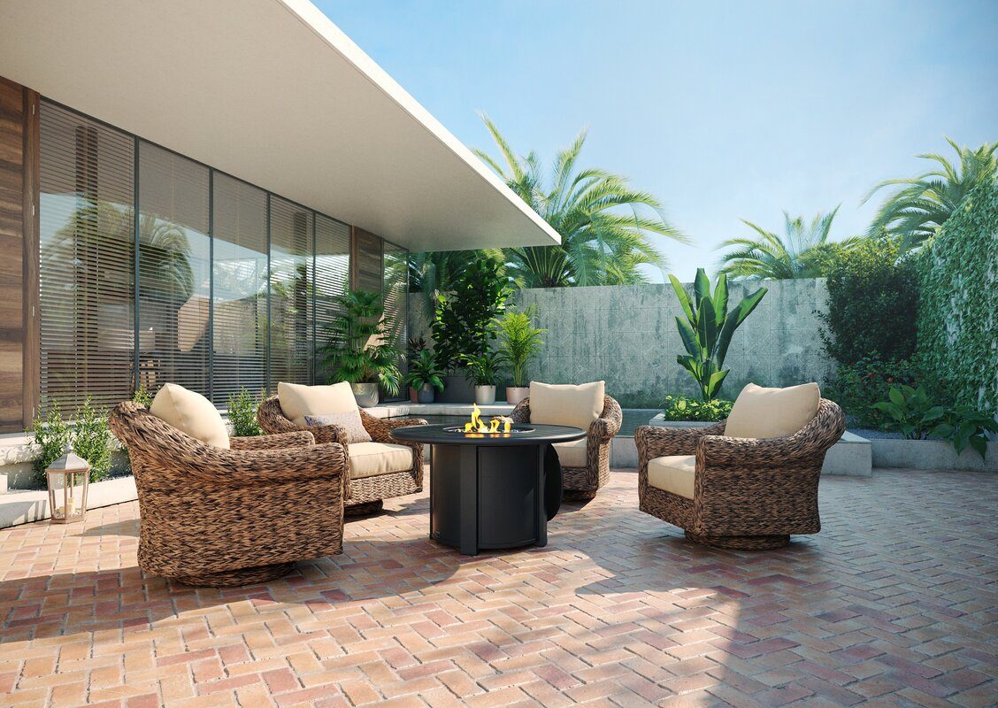 Winston Cayman Swivel Glider Lounge Chair and Fire Pit 5 Piece Rattan Seating Group with Sunbrella Cushions