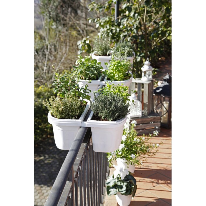 over balcony planters Lesher Self Watering Resin Railing Planter