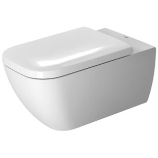 Duravit Happy D.2 1.28 GPF (Water Efficient) Elongated Wall Mounted Toilet with High Efficiency Flush (Seat Not Included)