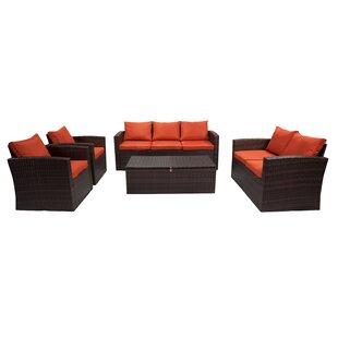 Longshore Tides Marisa 5 Piece Rattan Sofa Seating Group