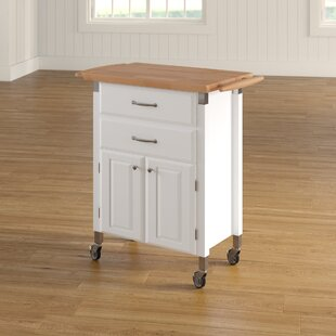 Hamilton Kitchen Cart with Wood Top Charlton Home