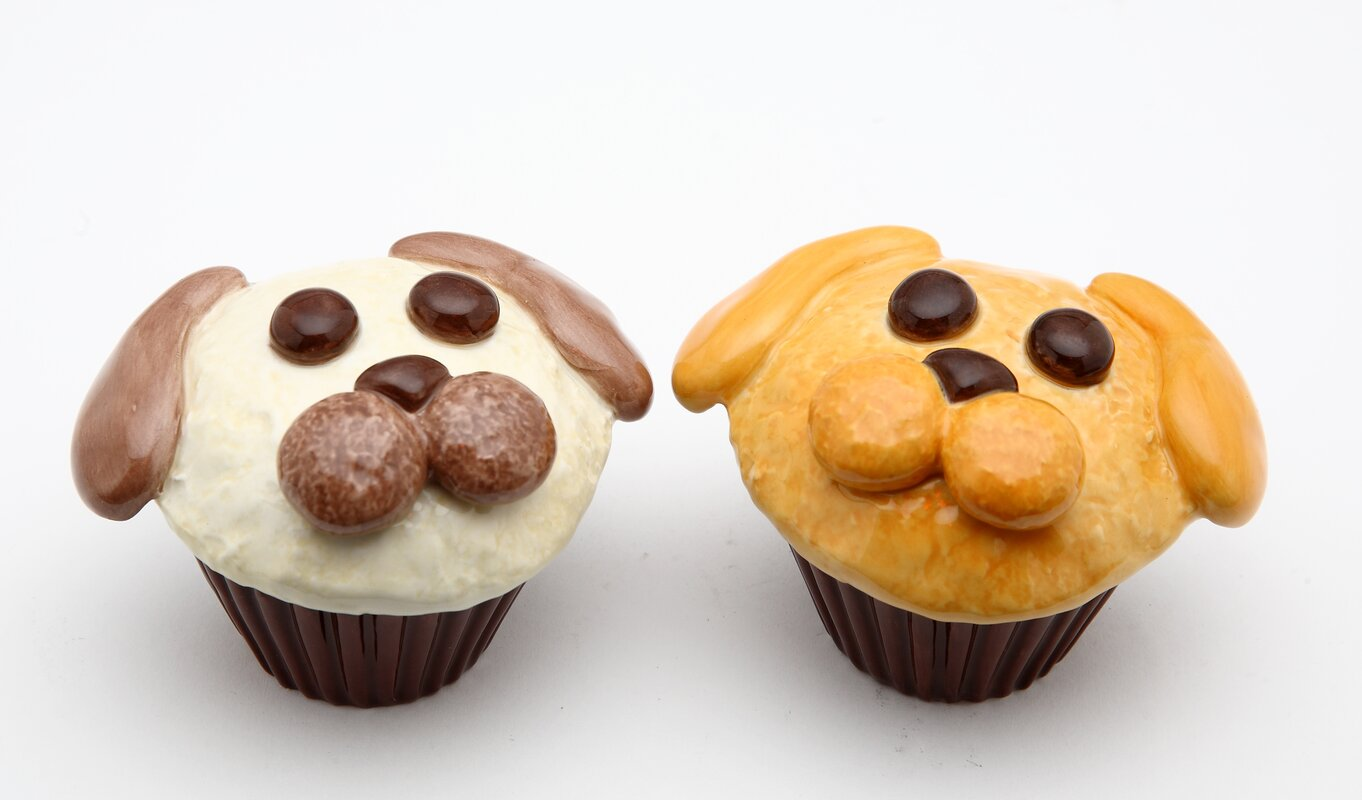 Dog Cupcake Salt and Pepper Set