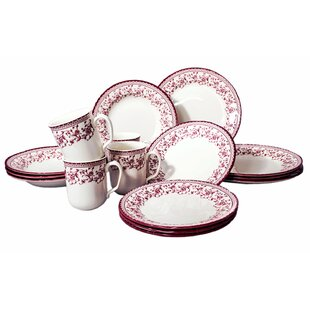 Aster Pink 16 Piece Dinnerware Set, Service for 4