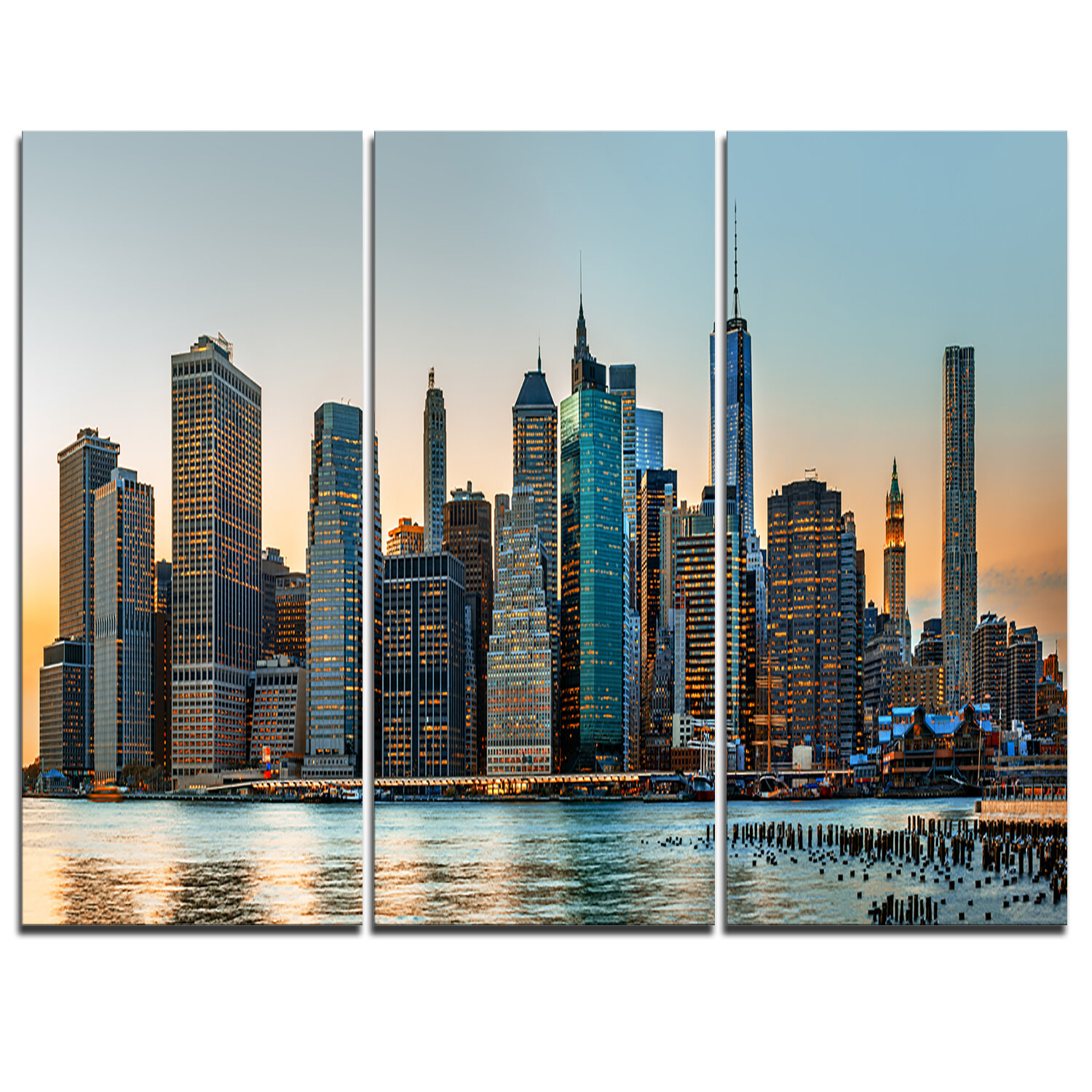 DesignArt New York City Skyline - 3 Piece Graphic Art on Wrapped ...