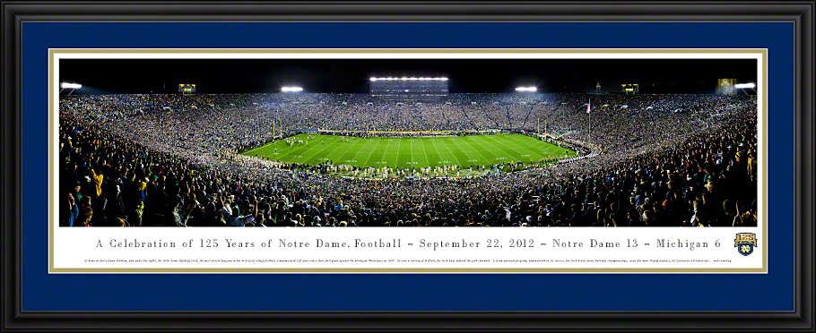 NCAA University of Notre Dame - 125 Night Deluxe Framed Photographic Print