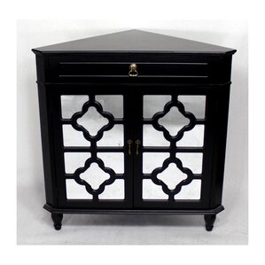 Charlwood Wooden Corner Accent Cabinet With 1 Drawer And 2 Doors