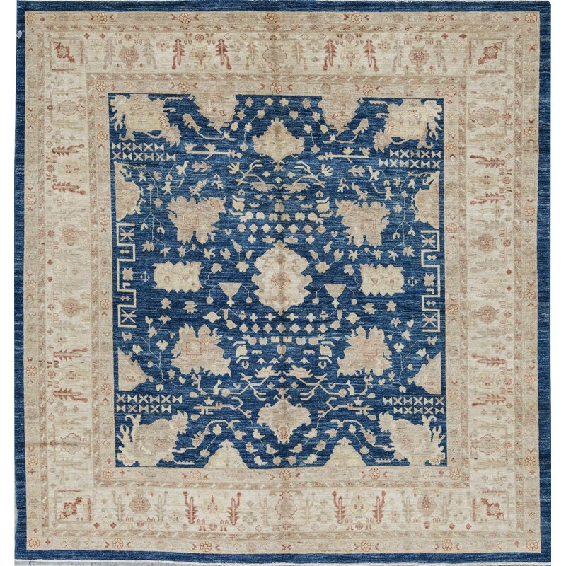 Bokara Rug Co Inc Square Ziegler Oriental Hand Knotted Wool Blue Beige Area Rug Wayfair