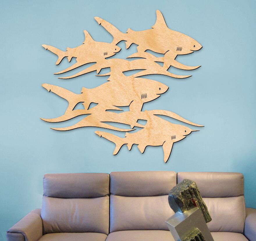 Breakwater Bay Great White Sharks 3 Letters Wooden Wall Décor   Wayfair