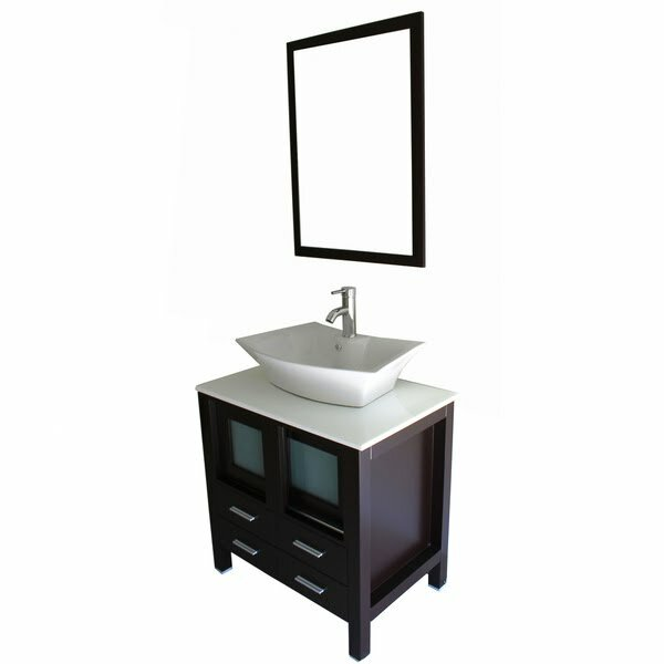 "Bathroom Vanities Set kokols 30"" single bathroom vanity set with mirror & reviews 