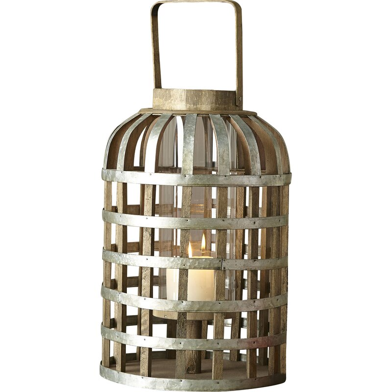 Swansea Tall Wood and Metal Lantern