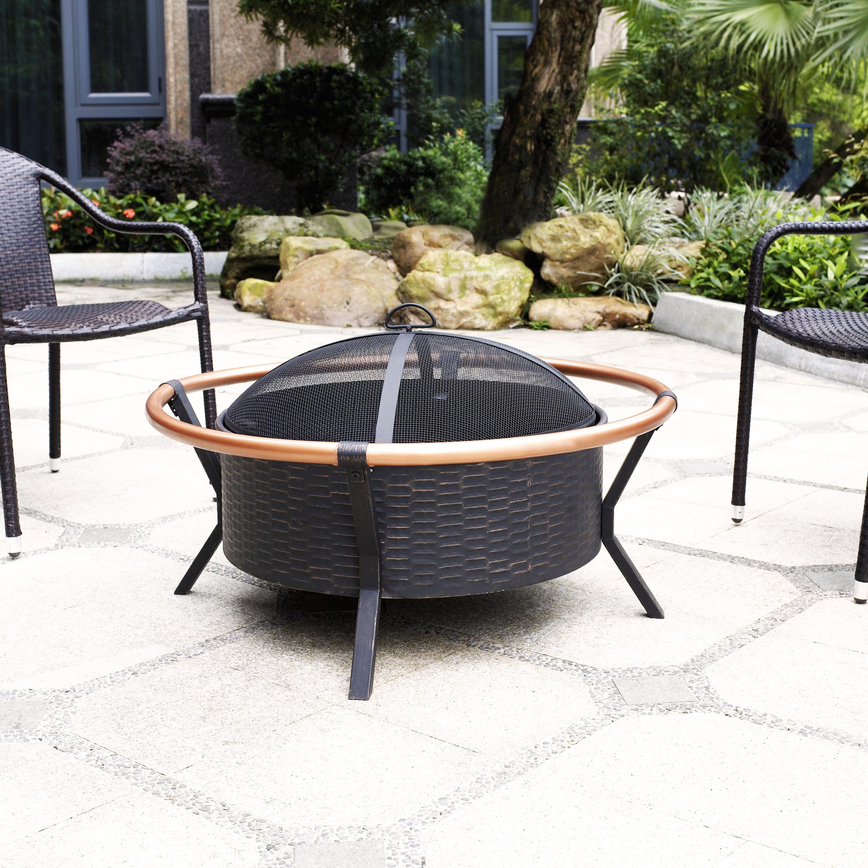 Ebern Designs Epitome Ring Steel Wood Burning Fire Pit Reviews Wayfair