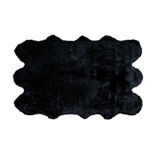 Best Price Shag and flokati Faux Sheepskin Black Area Rug ByGlamour Home Decor