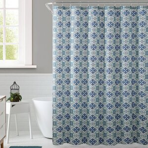 royal blue shower curtain. Delvin Royal Bath Floreada Polyester Shower Curtain Modern Bungalow Rose Curtains  AllModern