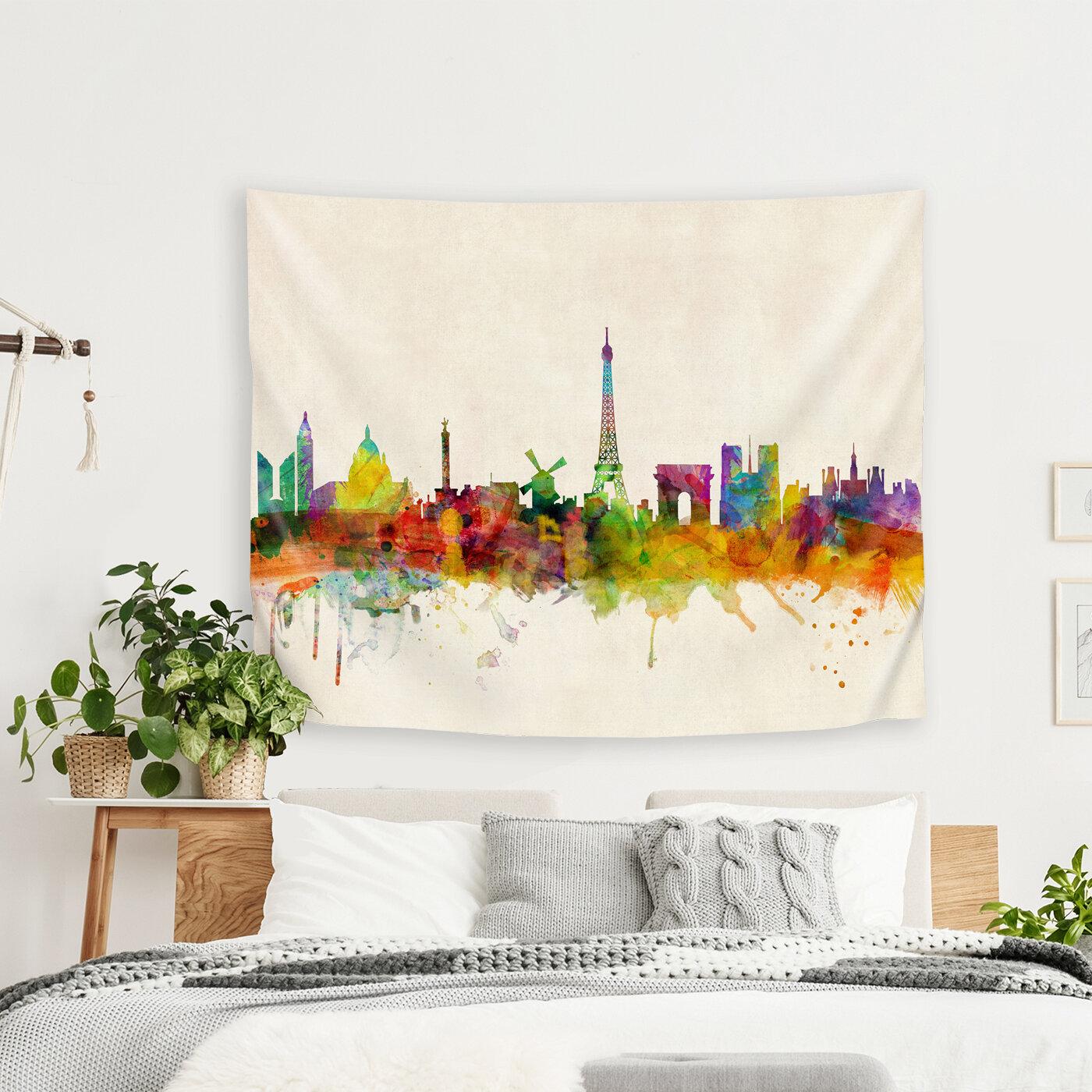 East Urban Home Michael Tompsett Art Pause Paris France Skyline Panoramic Tapestry Wayfair