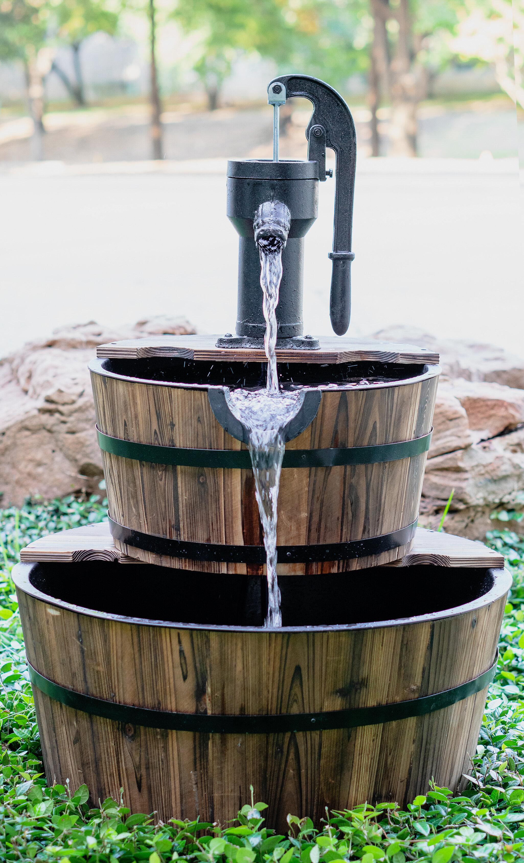 50cm Large Black Barrel Planter Plant Pot Plastic Indoor Outdoor Barrel Planter