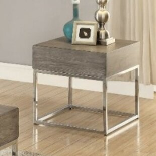 Roscoe Wooden Square Top Metal Base End Table by Ivy Bronx