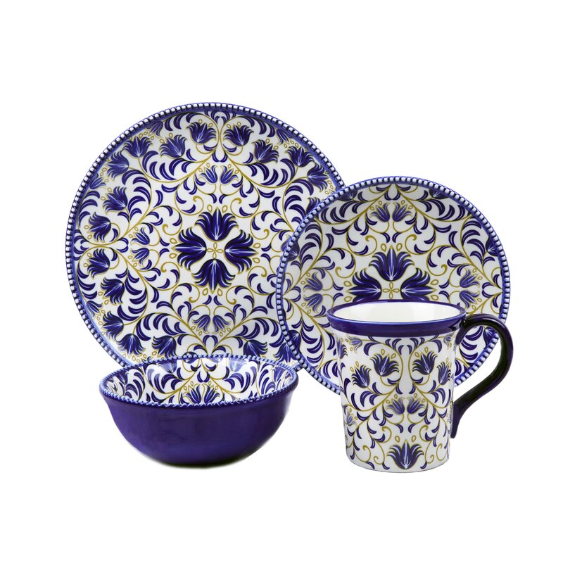 Bimini Beaded 16 Piece Set Dinnerware Set Service for 4  sc 1 st  Wayfair & Lorren Home Trends Bimini Beaded 16 Piece Set Dinnerware Set ...
