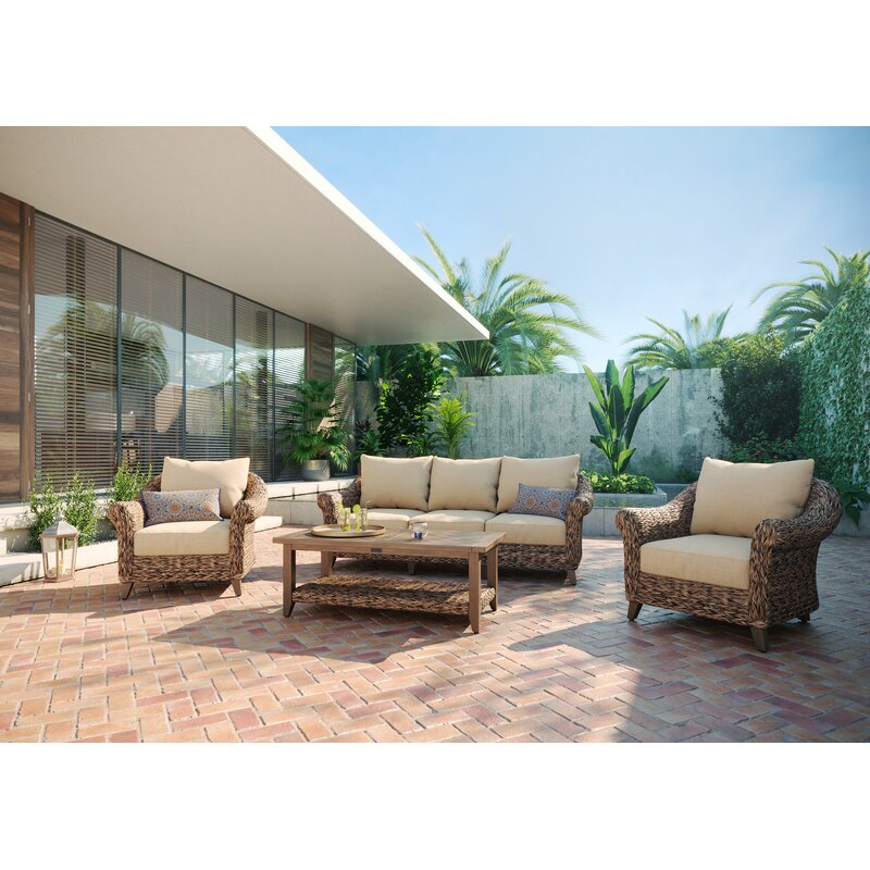 Winston Cayman Sofa And Stationary Lounge Chair 4 Piece Rattan Seating Group With Sunbrella Cushions Perigold