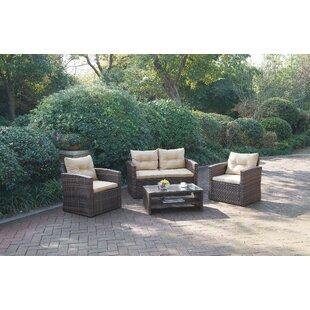 Blaire 4 Piece Rattan Sofa Set with Cushions