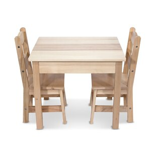 Wooden 3 Piece Rectangular Table and Chairs Set by Melissa & Doug