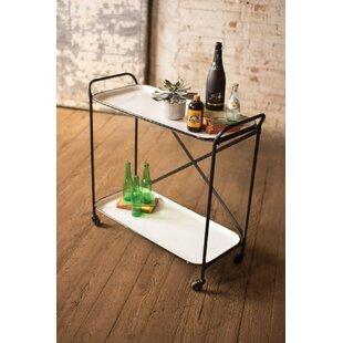 Gracie Oaks Wolbert Metal Enamel Two Tiered Bar Cart