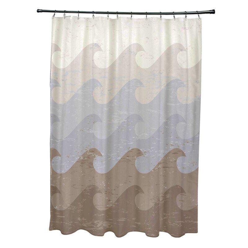 Bay Isle Homepembrook Polyester Deep Sea Geometric Shower Curtain