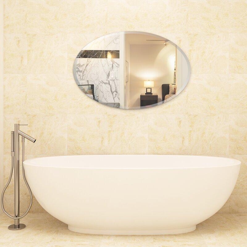 Charlton Home Kaylie Frameless Beveled Oval Bathroom Vanity Mirror Reviews Wayfair