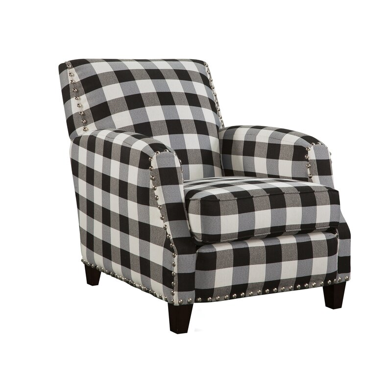 Clarkesville Black and White Plaid Armchair. Holiday decor inspiration with plaid, checks, and tartans! Come be inspired by this classic pattern for Christmas decorating. #plaid #christmasdecor #holidayinspiration #checks #decorating #inspiration