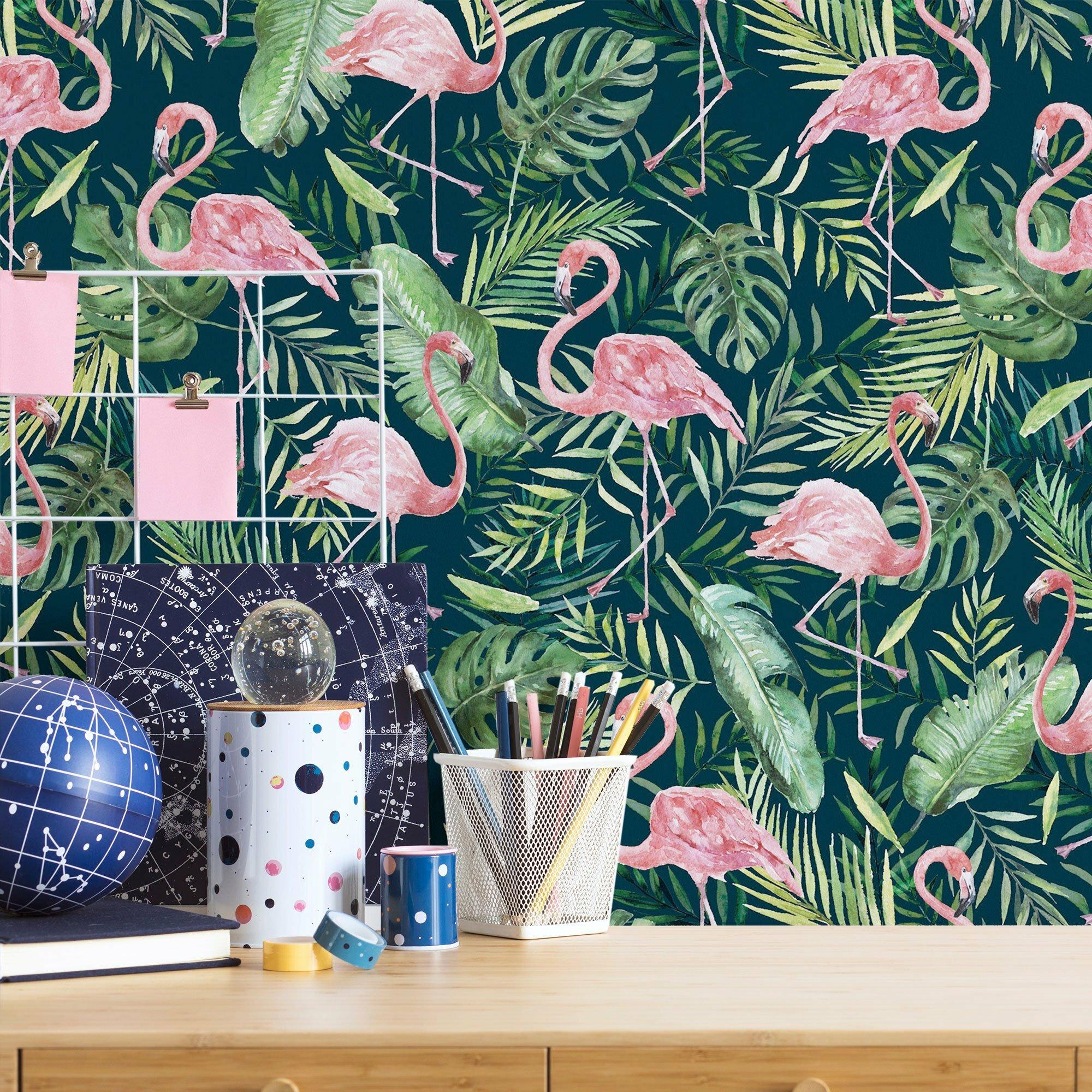 Traditional wallpaper Pink wallpaper Pastel SALE ** Flamingo wall mural Kids wallpaper