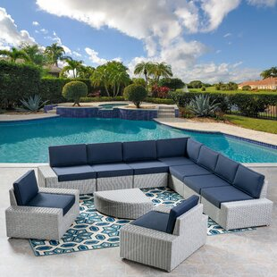 Mountview 9 Piece Rattan Sectional Set with Cushions by Wade Logan