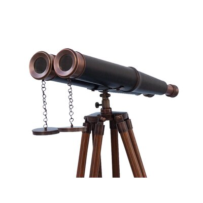 Floor Standing Admiral's Leather Binoculars Handcrafted Nautical Decor Finish: All Bronze
