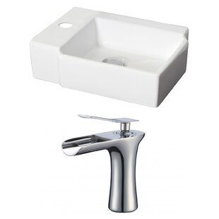 Purchase Ceramic Rectangular Vessel Bathroom Sink with Faucet and Overflow By American Imaginations