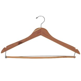 Inexpensive Space Saver Cedar Hanger with Locking Trouser Bar (Set of 4) ByHousehold Essentials
