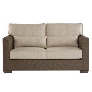 Gracie Oaks Astrid Wicker Patio Loveseat with Cushions