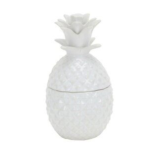Ceramic Pineapple Motif Lidded Storage Jar