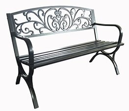 Scroll Design Steel Garden Bench