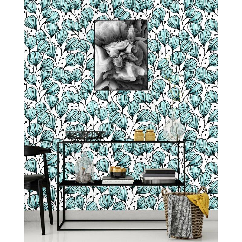 Ebern Designs Domaingue Tulips Peel and Stick Wallpaper ...