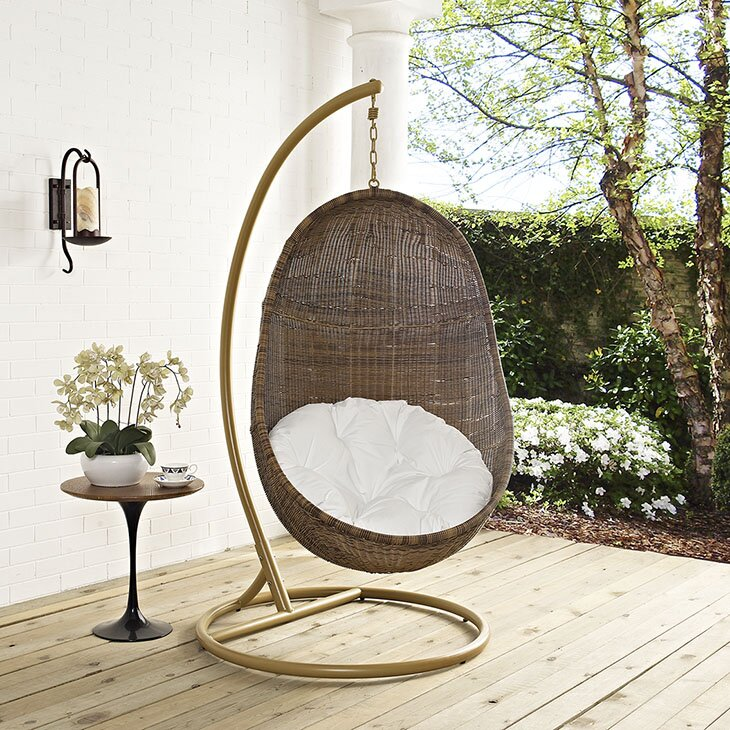 hanging chair with stand Modway Bean Swing Chair with Stand & Reviews | Wayfair hanging chair with stand