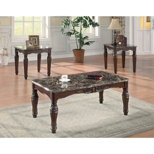 Elsha Faux Marble 3 Piece Coffee Table Set by Astoria Grand