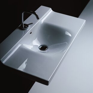 Best Buddy Ceramic 32 Wall Mount Bathroom Sink with Overflow ByWS Bath Collections