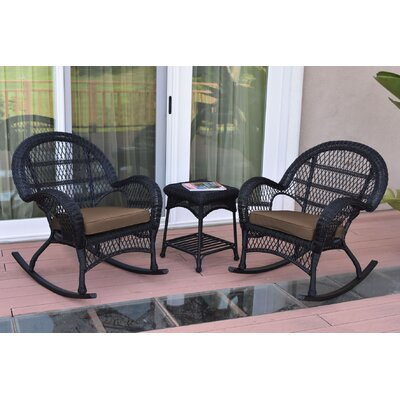 3-Piece Lalani Patio Seating Group Fabric: Brown, Frame Color: Black by August Grove