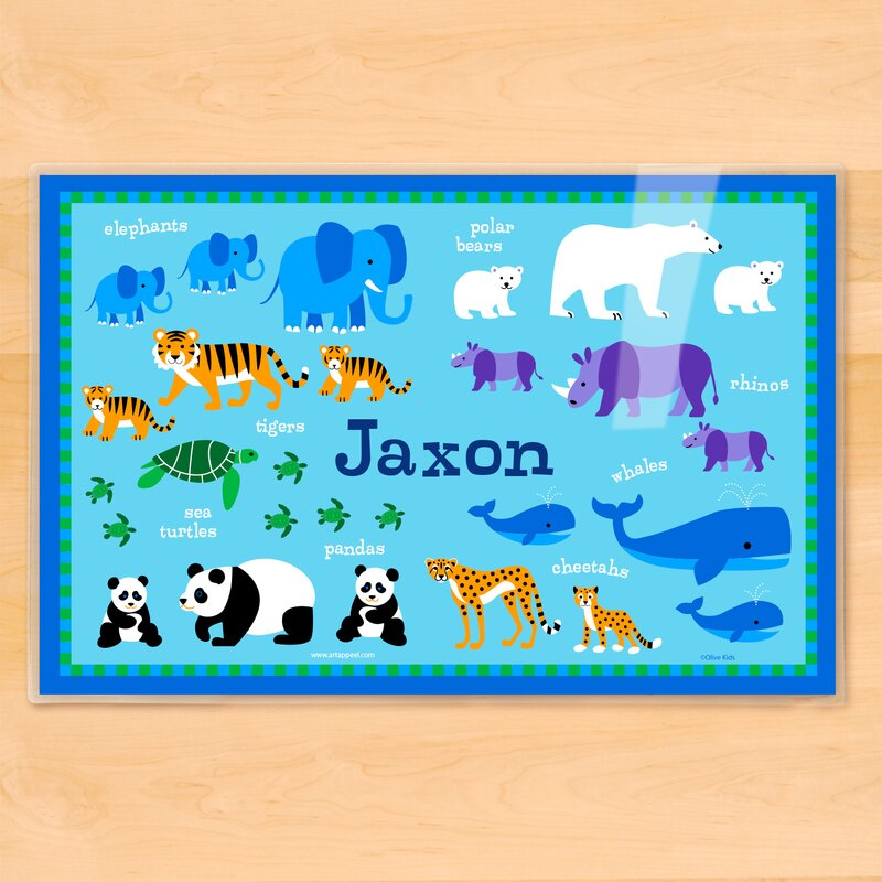 olive kids endangered animals personalized placemat reviews wayfair