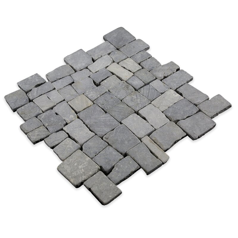Pebble Tile Blocks Random Sized Natural Stone Pebble Tile In Grey