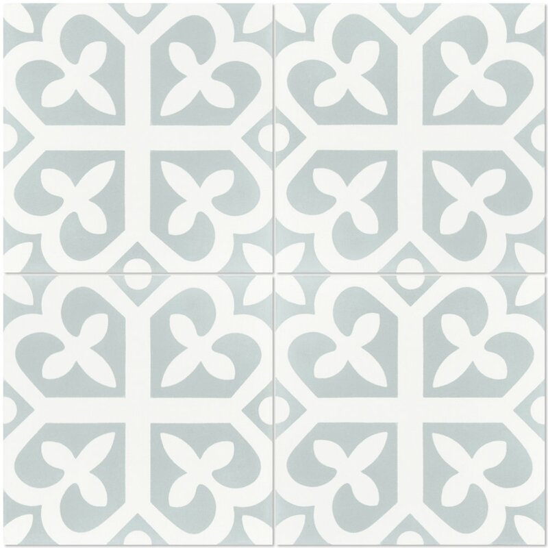 "Lucky 8"" x 8"" Cement Field Tile in White/Green"